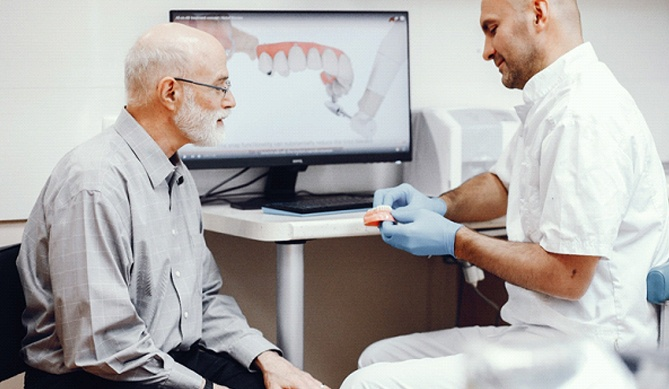 Periodontist explaining All-on-4 dental implants to patient.